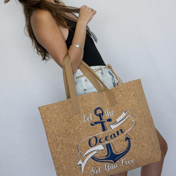 """Let the Ocean Set You Free"" Cork Leather Tote Craft Kit"