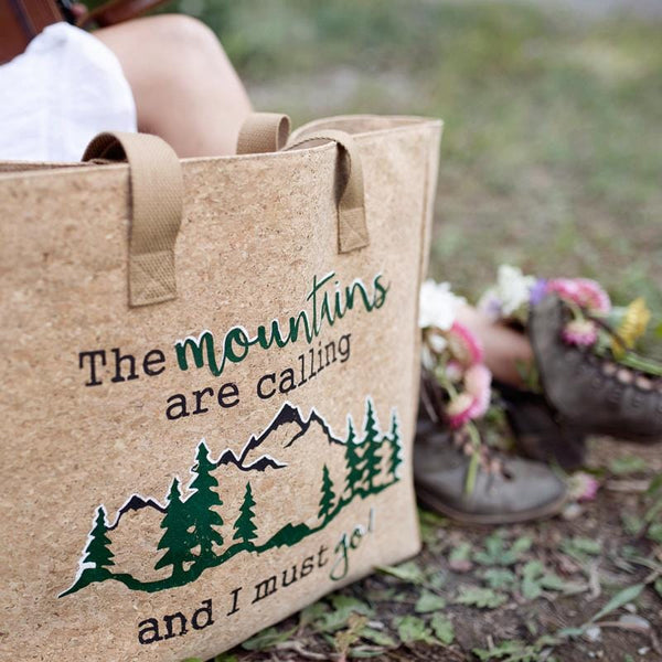 """The Mountains Are Calling and I Must Go"" Cork Leather Tote Craft Kit"