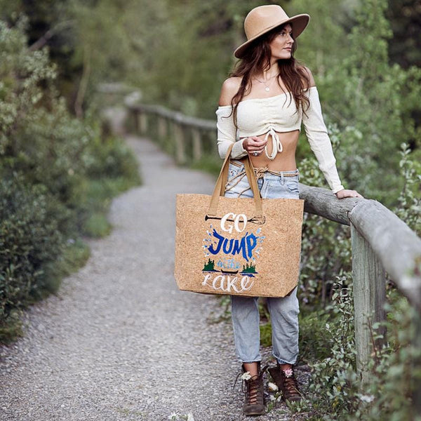 """Go Jump in the Lake"" Cork Leather Tote Craft Kit"