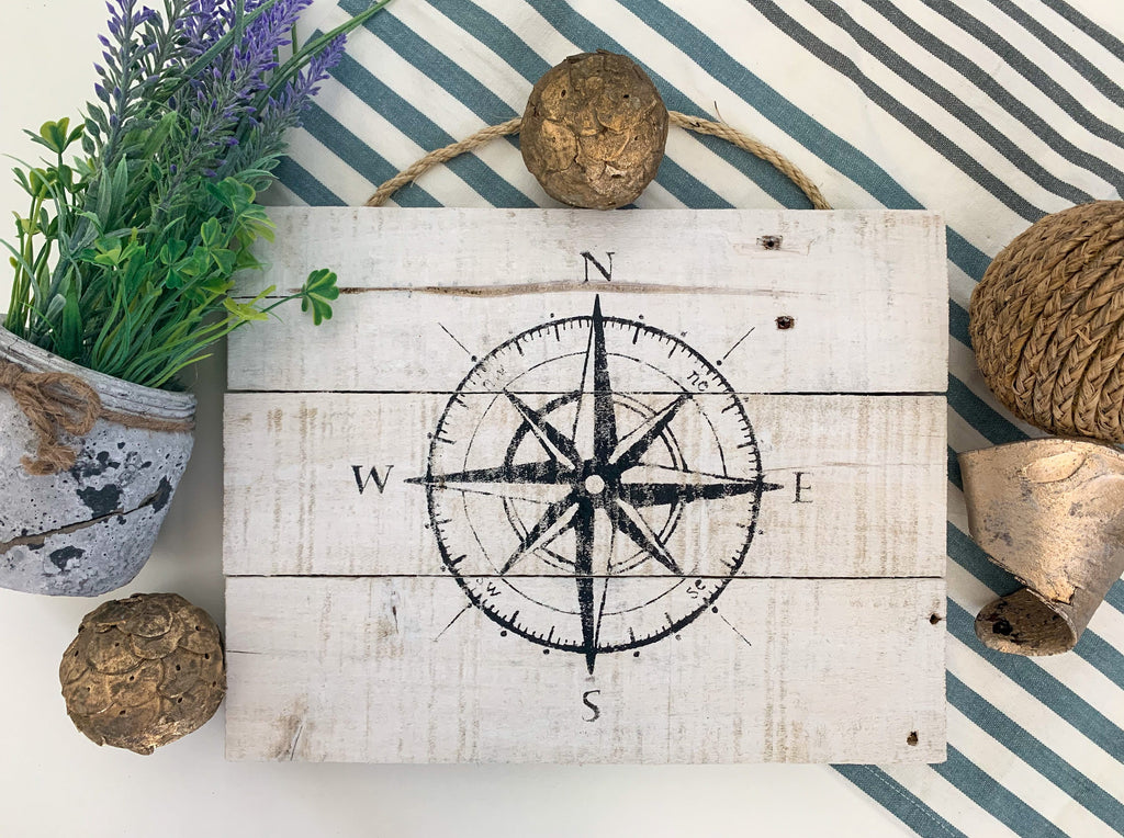 compass beach farmhouse cottage wall decor