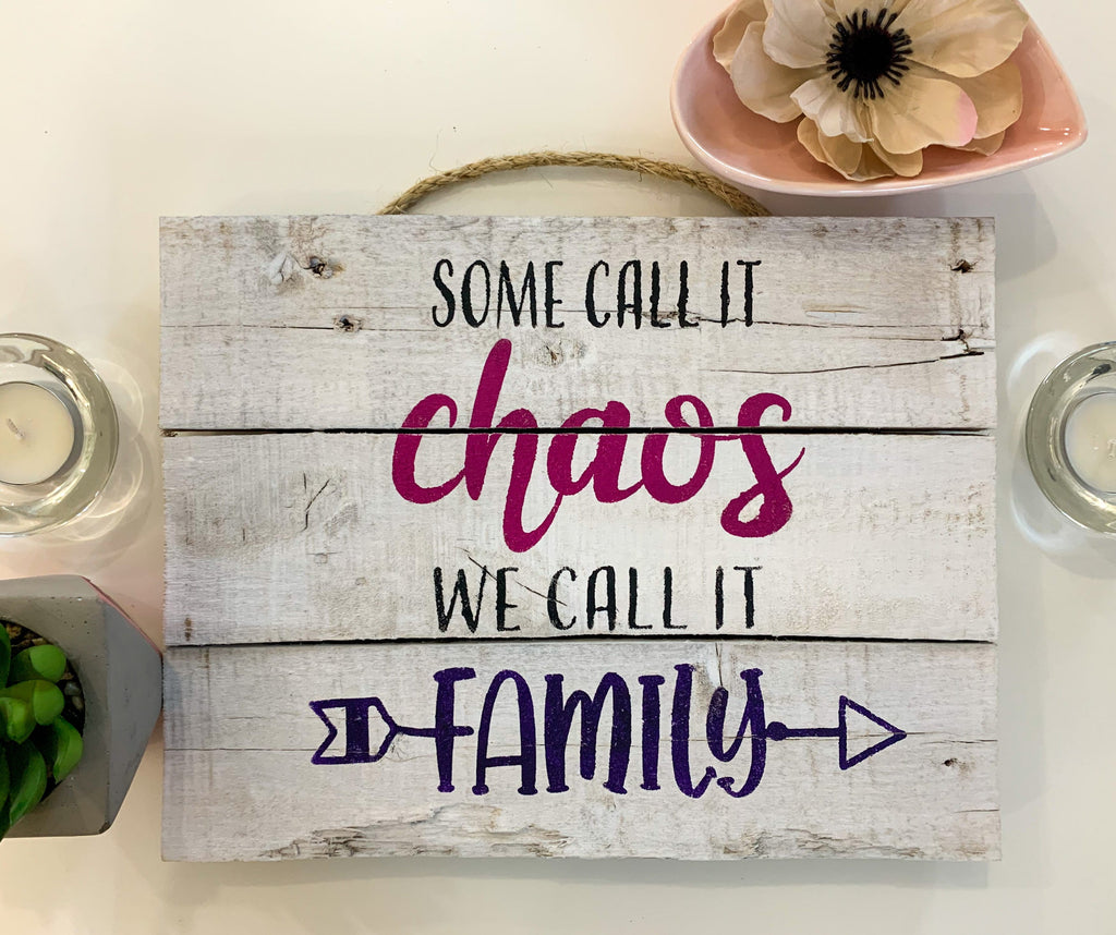 family reclaimed wooden rustic whitewashed sign