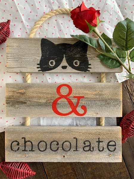 """Cat & Chocolate"" Gray Rustic Ladder Sign Craft Kit"