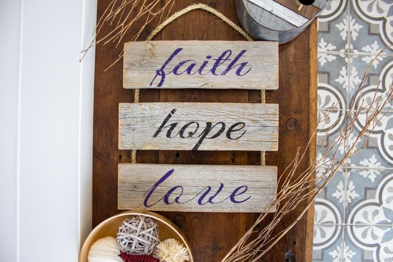 faith hope love - Rustic Ladder Sign Craft Kit
