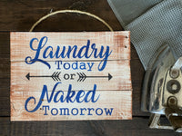 """Laundry Today or Naked Tomorrow"" White/Color-Washed Rustic Sign Craft Kit"