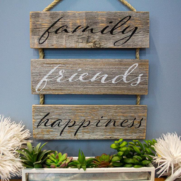 """Family, Friends, Happiness"" Gray Rustic Ladder Sign Craft Kit"