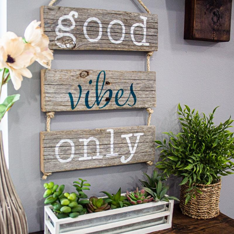 Good vibes only hand painted wood DIY craft kit sign