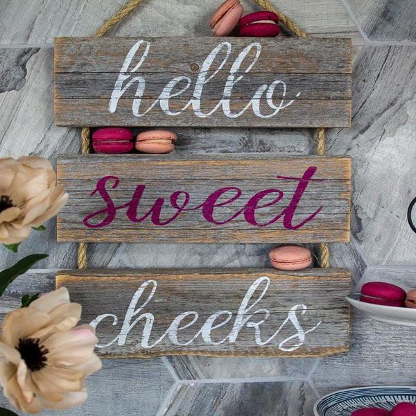 """Hello Sweet Cheeks"" Gray Rustic Ladder Sign Craft Kit"