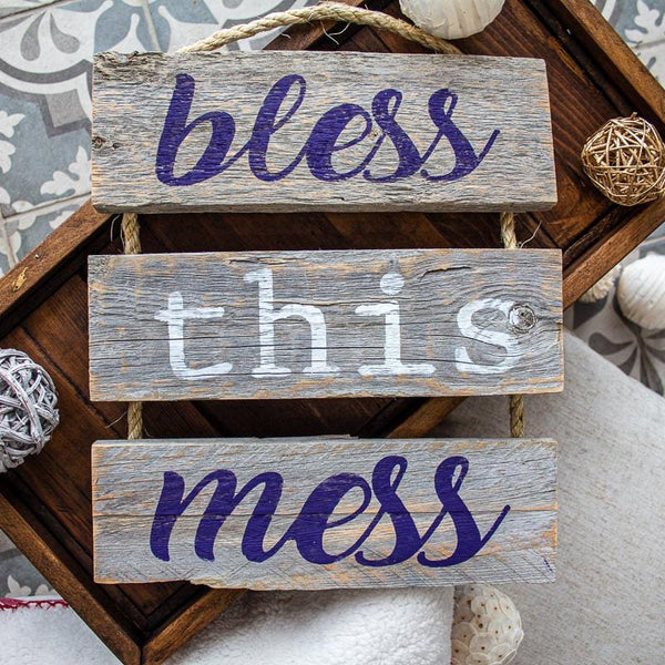 """Bless This Mess"" Gray Rustic Ladder Sign Craft Kit"
