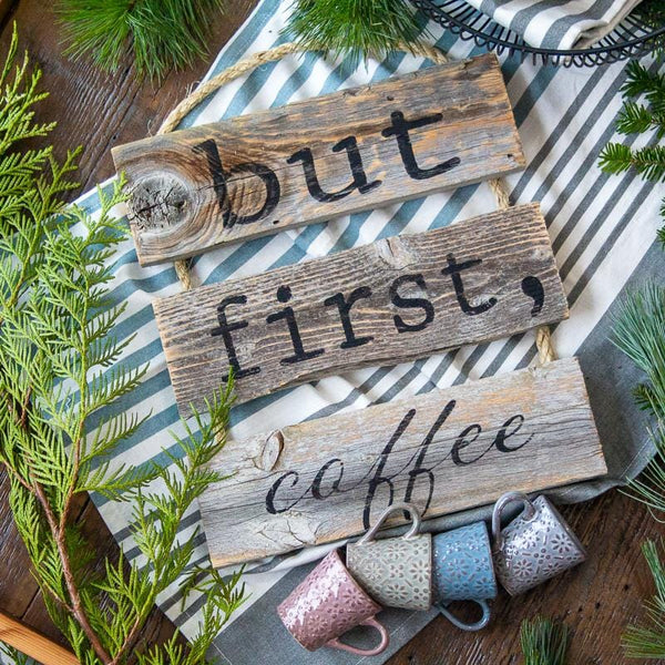 """But First Coffee"" Gray Rustic Ladder Sign Craft Kit"