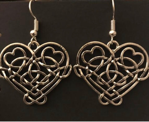 Celtic Infinity Knot Heart Earrings