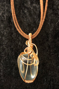 Blue Obsidian in Copper wire