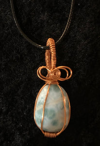 Larimar in Copper wire