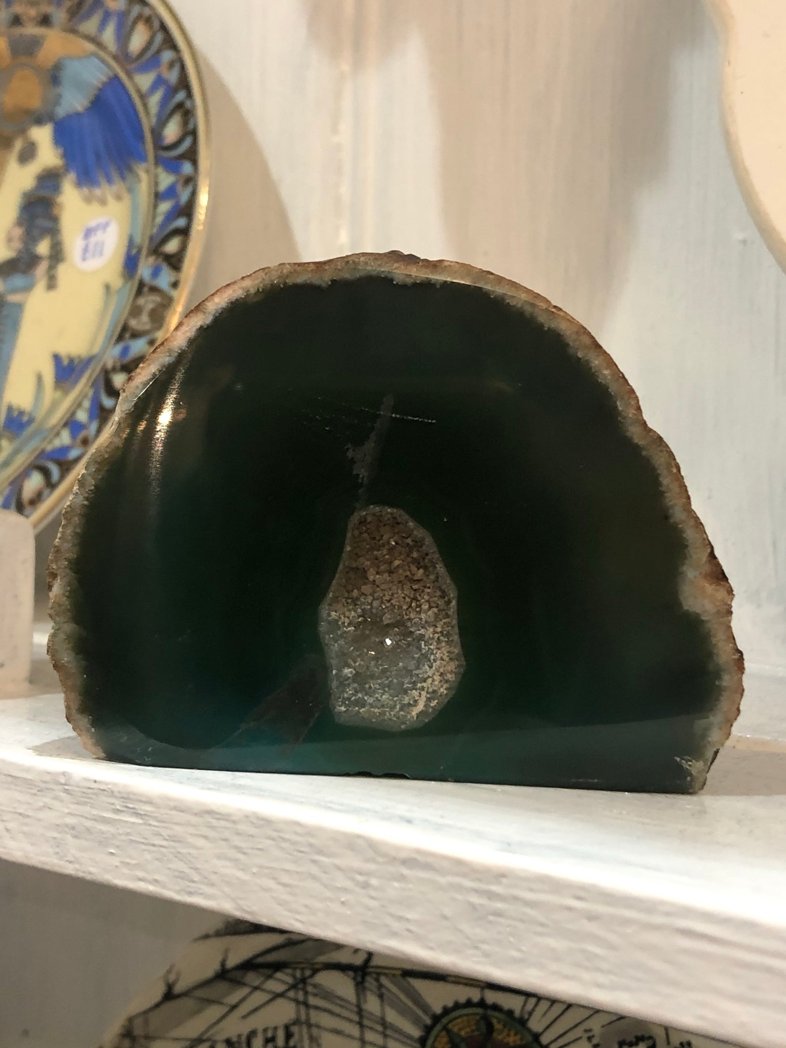 Green Agate cut base geode
