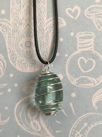 Blue Obsidian Spiral Necklace