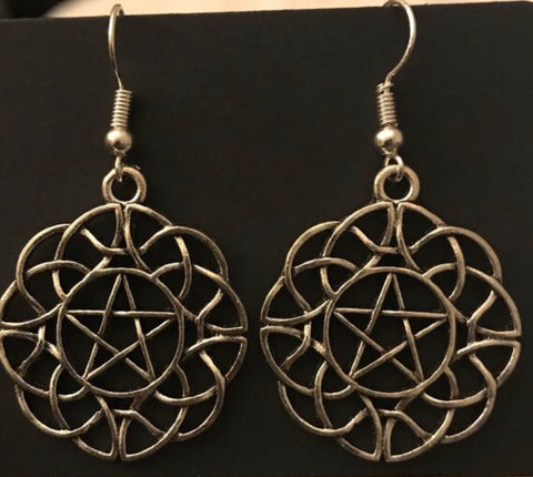 Pentagram in Celtic Infinity Knot Earrings
