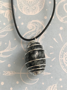 Snowflake Obsidian Spiral Necklace