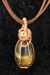 Gold Tigers Eye in Copper wire