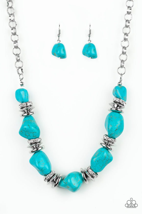 Stunningly Stone Age - Blue Necklace