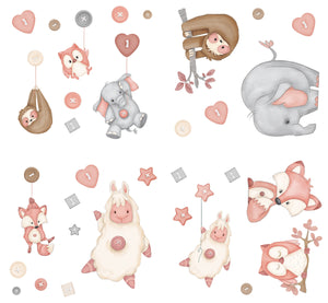 Blush Button Buddies Wall Decals