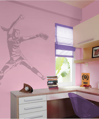 Softball Pitcher Sudden Shadow Wall Decal