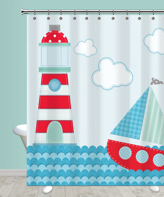 Ahoy Sailboat Shower Curtain