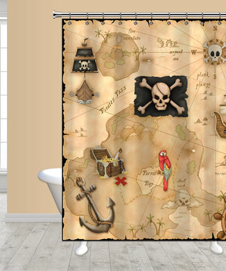 Pirate's Treasure Map Shower Curtain