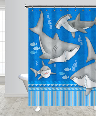 Fish 'n Sharks Under Water Shower Curtain