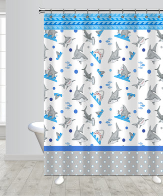 Fish 'n Sharks Mini Polka Dot Shower Curtain
