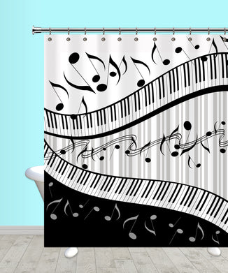 Music Black & Gray Shower Curtain