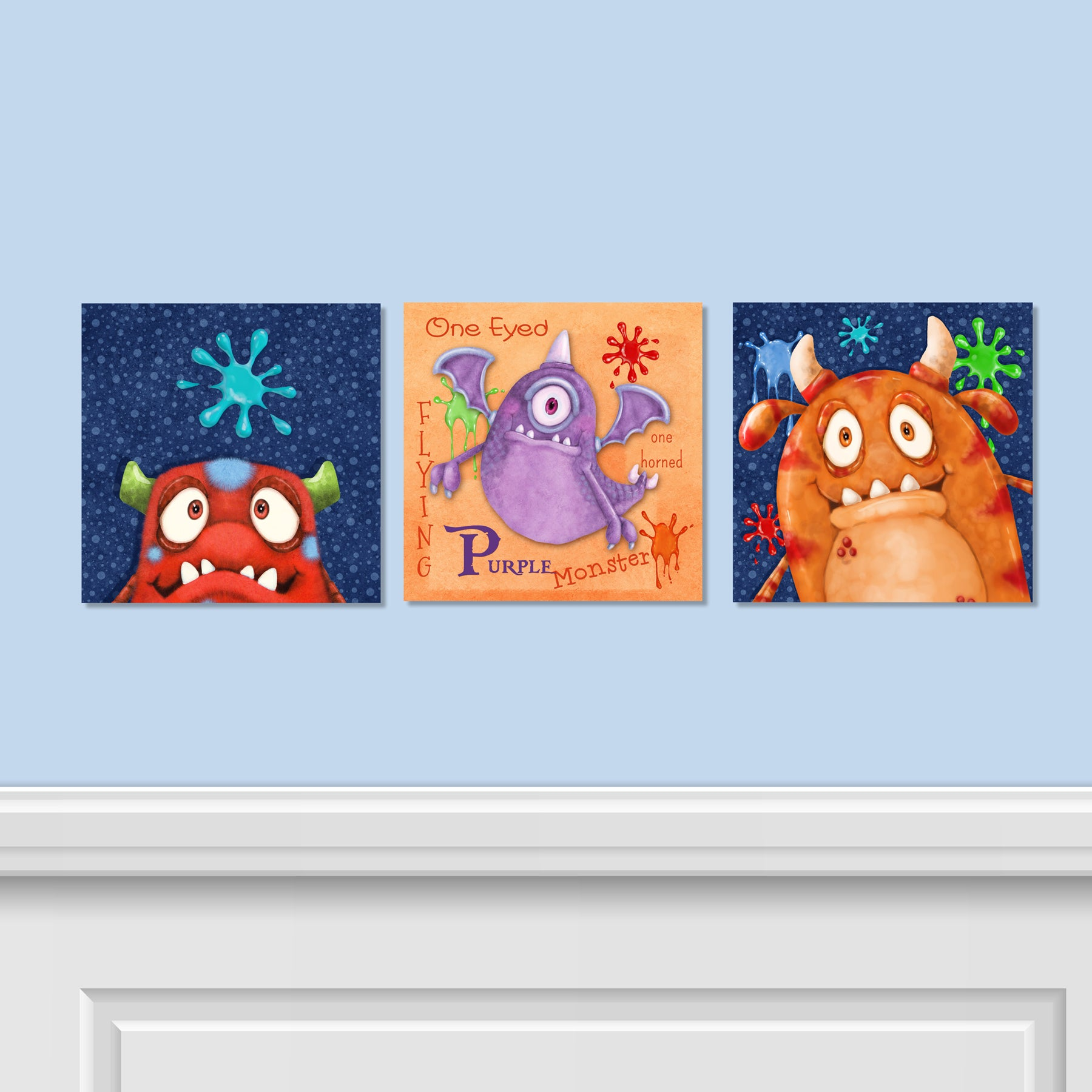 Monster Splat 3 PC Canvas Wall Art Set
