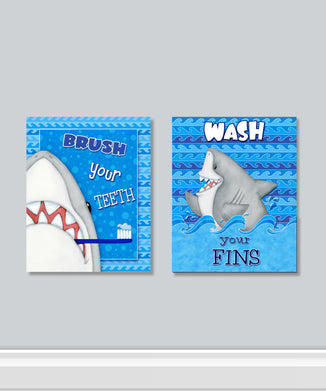 Fish 'n Sharks 2 PC Canvas Wall Art Set