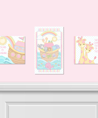 Noah's Pastel Pairs 3 PC Canvas Wall Art Set