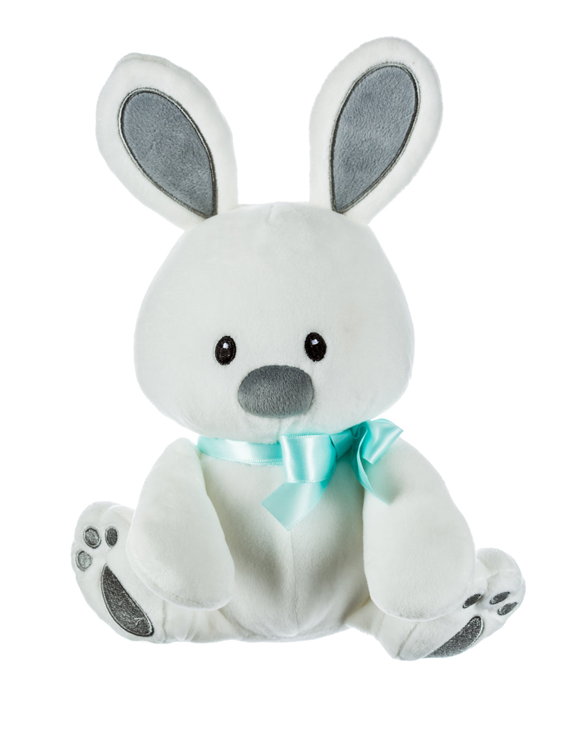 White Plush Bunny with Teal Ribbon