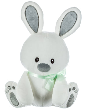 White Plush Bunny with Green Ribbon