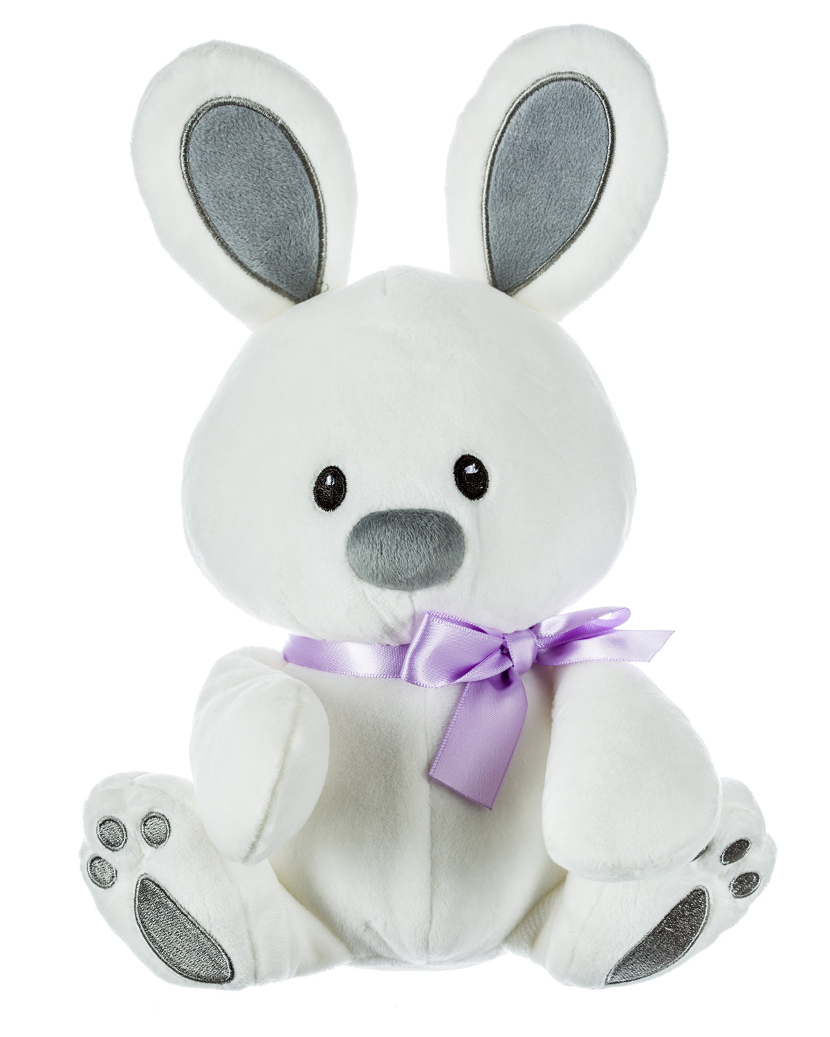 White Plush Bunny with Lavender Ribbon