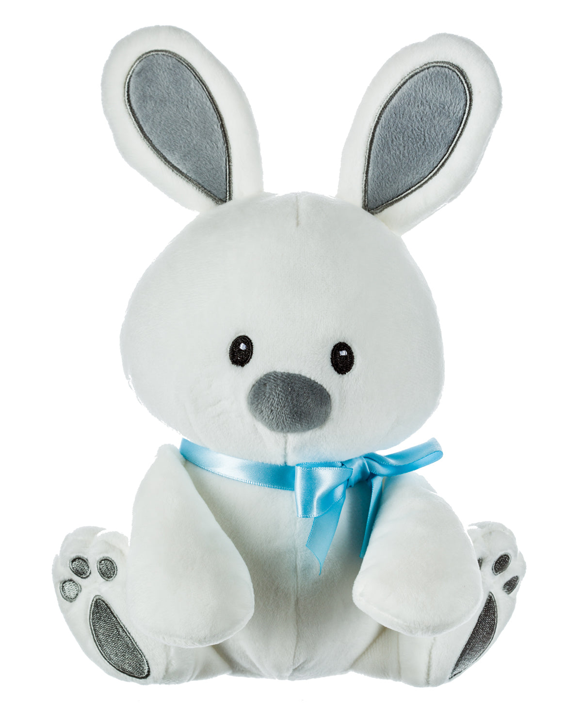 White Plush Bunny with Blue Ribbon
