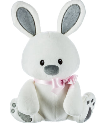 White Plush Bunny with Pink Ribbon