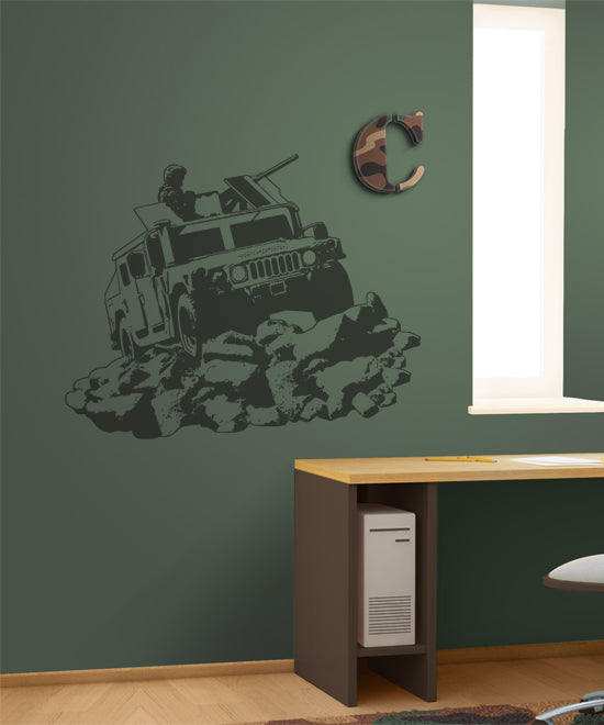 Camo Humvee Sudden Shadow Wall Decal