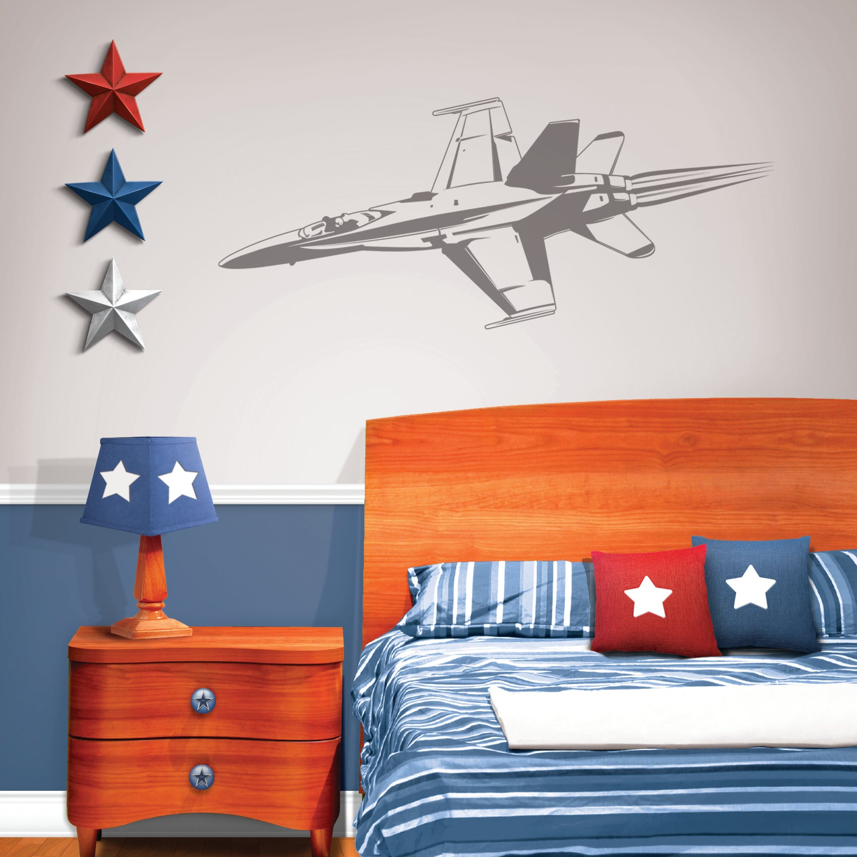 Camo Fighter Jet Sudden Shadow Wall Decal