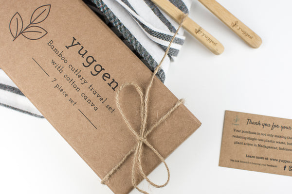 Yuggen bamboo cutlery packaging against white background