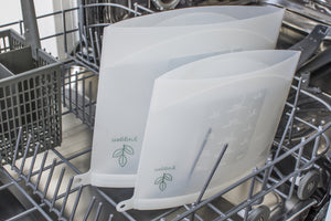 Yuggen Reusable silicone ziplock bag inside a dishwasher