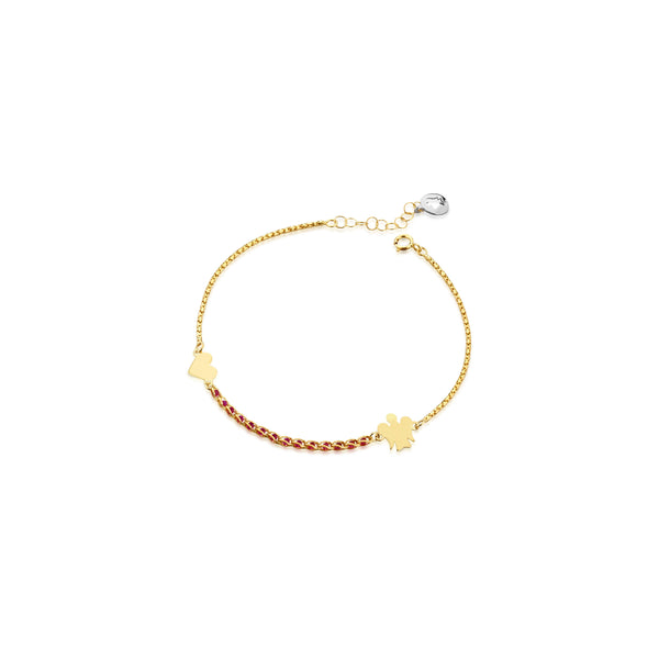Bracciale con catena red passion, Angelo e Cuore in oro