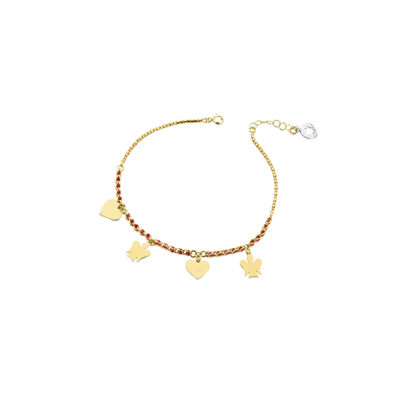 Bracciale con catena red passion, pendenti Angeli e Cuori in oro