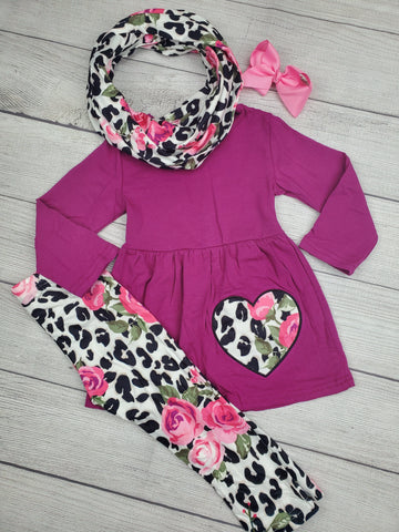 Girls Three Piece Valentine's Day Outfit with Scarf
