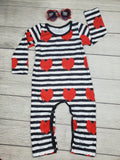 Infant Valentine's Day Romper, Black and White Stripe Baby Romper with Red Hearts