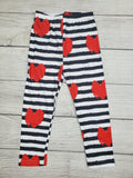 Black and White Stripe Valentine's Day Leggings with Red Hearts