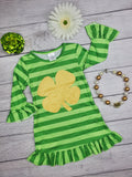 Girl's St. Patrick's Day dress, Gold Glitter clover centered on Light and dark green stripes, with ruffle sleeves and hem.
