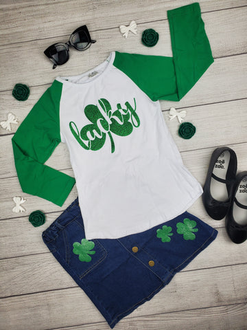 Girl's St. Patricks Day Green and White Glitter Raglan Tee with Matching Denim Skirt with glitter clovers
