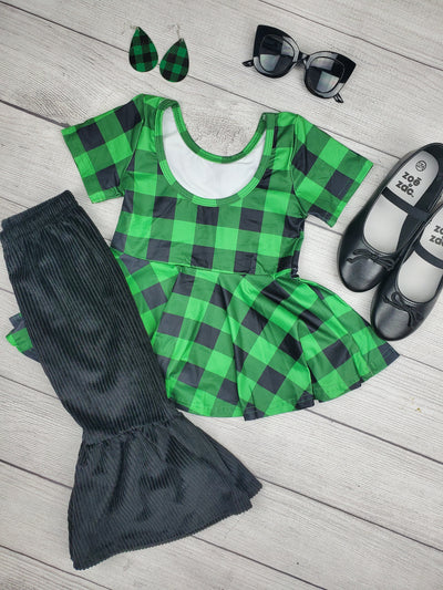 Girls Green and Black buffalo Plaid Print Shirt with matching black bell bottoms, Girls St. Patricks Day Outfit, Girl's Jets Football Outfit