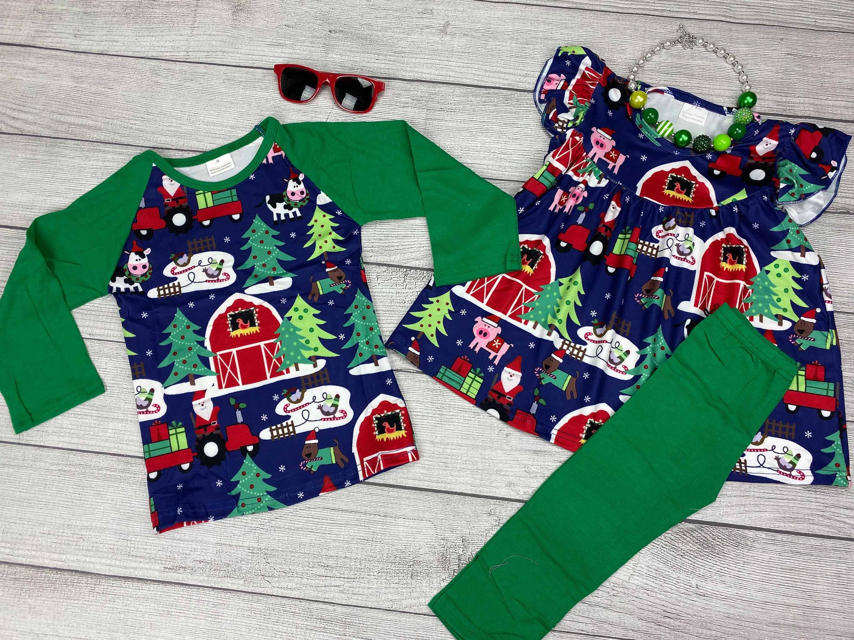 Barnyard inspired Christmas t-shirt for boys, barnyard inspired tunic and leggings for girls